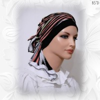 2-in-1 head scarf with cap stripes