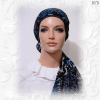 Blue Patch Poly-Lycra Scarf Cotton Knit Cap 05