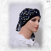 Chevron Blue Black White Poly Knit Cap-n-Wrap Scarf Cotton Cap 05