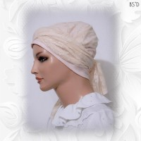 Cream Lace Scarf Pink Cotton Cap 05