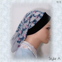Gray Floral Headband Snood Styles A-B-C 01