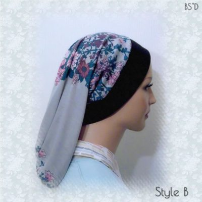 Gray Floral Headband Snood Styles A-B-C 03