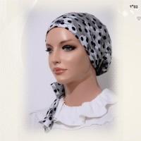 Grey Floral Sinar Style Tichel 3