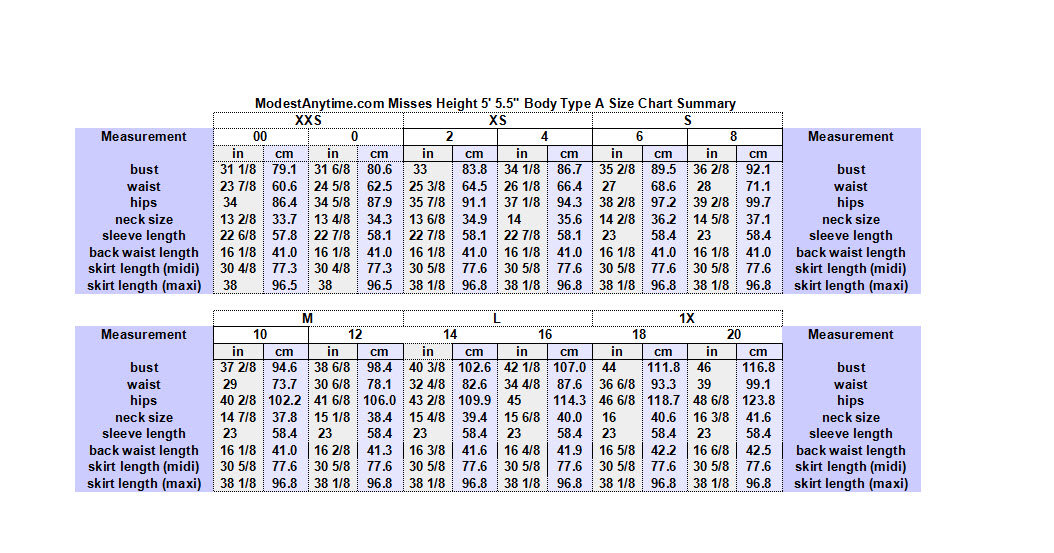 ModestAnytime.com Average Misses 5ft 5.5 in 00P-20P Type A