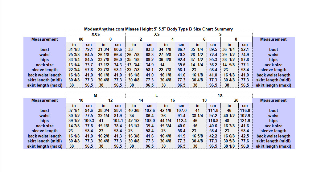 ModestAnytime.com Average Misses 5ft 5.5 in 00P-20P Type B