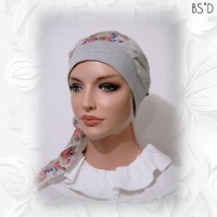 2-in-1 Head Scarf Grey Floral 54 7