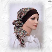Brown Floral Cotton Snood 54-in 02
