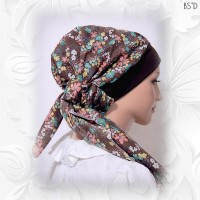 Brown Floral Cotton Snood 54-in 06