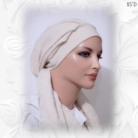 Tan Cotton Lawn Scarf with Matching Cotton Cap 04
