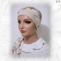 White Floral Cotton Lawn Tan Cap 03