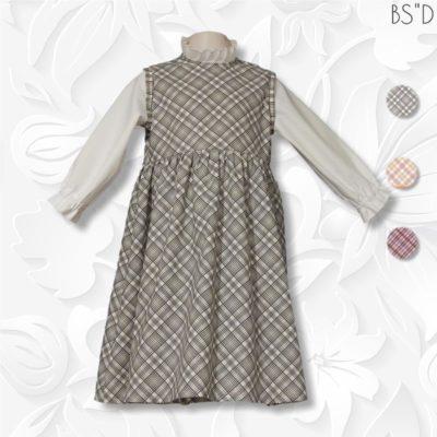 one piece faux modest plaid jumper dress bias plaid
