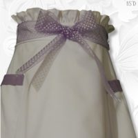 White Fitted Paperbag Waist Purple Trim Aline Skirt 02