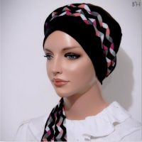 Black Pink Chevron Moriya Snood Tails 05