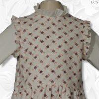 Drop Waist Jumper Dress Lined White Diamond Print 02