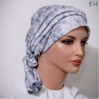 Moriya Snood Beret Light Blue Floral 05