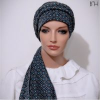Moriya Snood Blue Geometric Print Tails 05