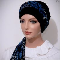 navy moriya snood fitted tichel