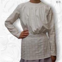 white gathered blouse round yoke