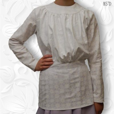 white gathered blouse round yoke