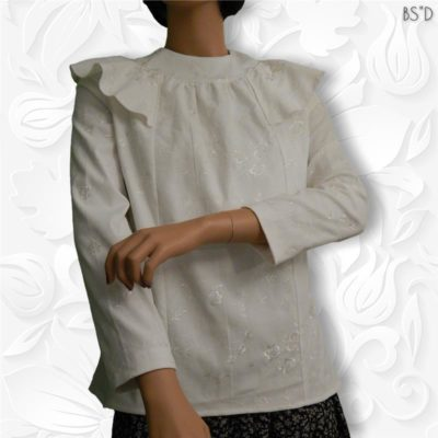 ivory embroidered blouse corduroy roses