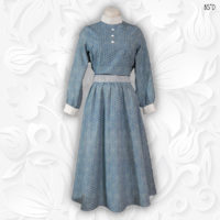 tznius blue dot cotton modest dress vintage style