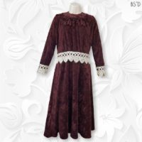 jacquard velour modest dress burgundy venetian lace