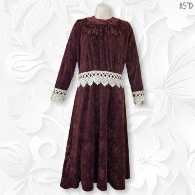 jacquard velour modest dress burgundy venetian lace