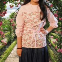 Pink Floral Top Panel Blouse 03
