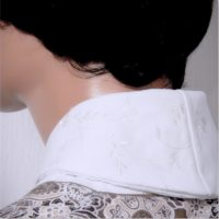Shawl Collar Dickey Ivory Embroidered Corduroy 05