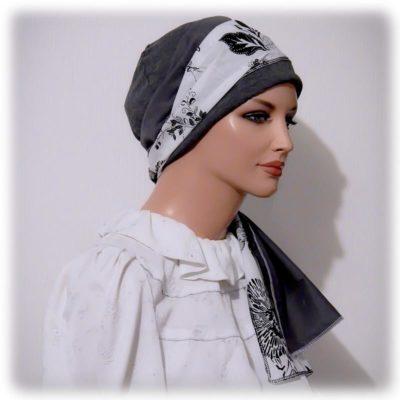 sinar tichel black white floral
