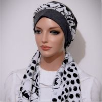 Moriya Snood Charcoal Grey White Floral Dots 6