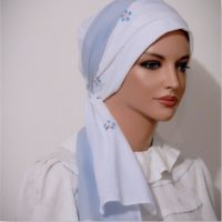 Sinar Tichel Style Moriya Snood White Blue Embroidered 2