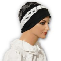 Black Braided Trim White Floral Jacquard Snood Beret Cap 03