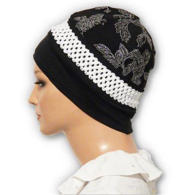 black floral jacquard cap