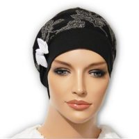 Black Floral Sparkle Snood Beret Bow White 01