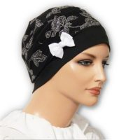 black floral snood beret