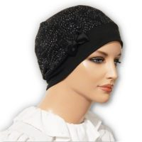 black snood beret hat cap