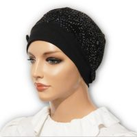 Black Sparkle Swirls Snood Beret Bow 03