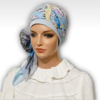 Blue Cherry Blossoms Cap Scarf 04