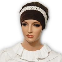 Brown Braided Trim Jacquard Snood Beret Cap 02