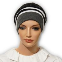 Charcoal Stripe Jacquard Snood Beret Cap 02