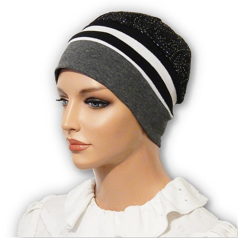 93498fc3d Snood Cap Black White Stripe Sparkle
