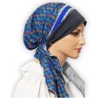 Cotton Blue Lace Pretied Tichel 04