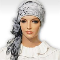 Grey Rose Swirl Cap Scarf 04
