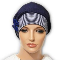 Navy Stripe Velour Snood Beret Bow 01