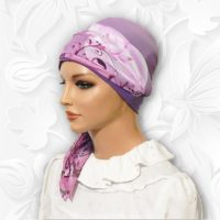 Pink Purple Rose Swirl Cap Scarf 03