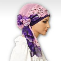 Plum Purple Rose Swirl Cap Scarf 05