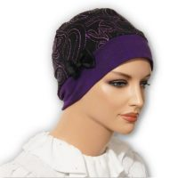 Plum Purple Sparkle Paisley Snood Beret Bow 01
