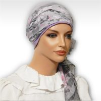 Purple Grey Cherry Blossoms Cap Scarf 04