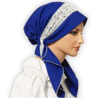 Royal Blue Polyester Pretied Tichel 02